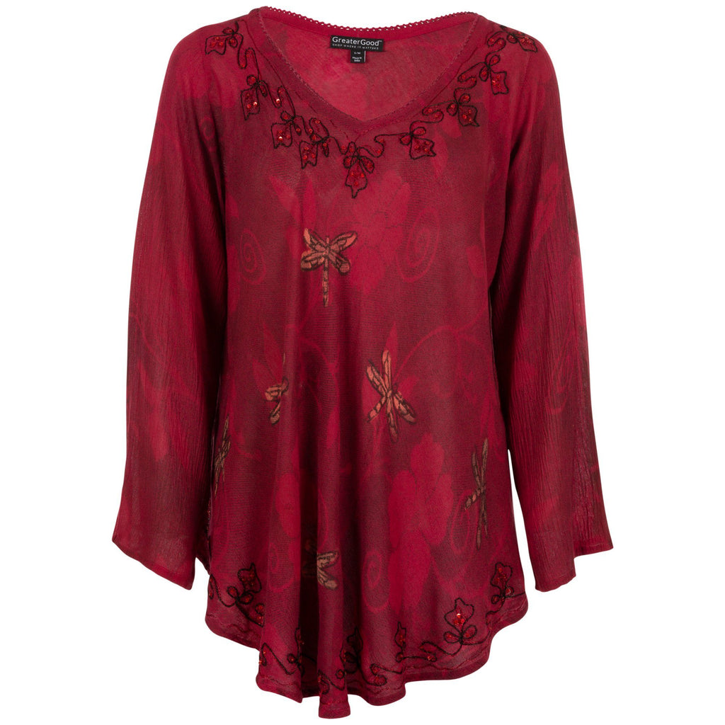 Scarlet Dragonfly Long Sleeve Tunic