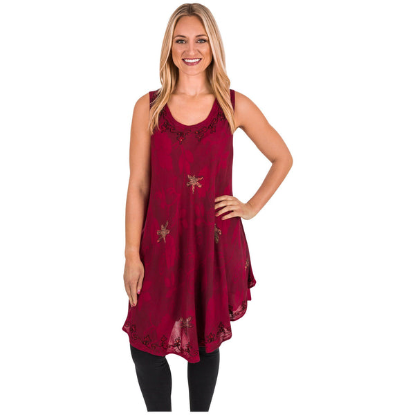 Scarlet Dragonfly Sleeveless Tunic