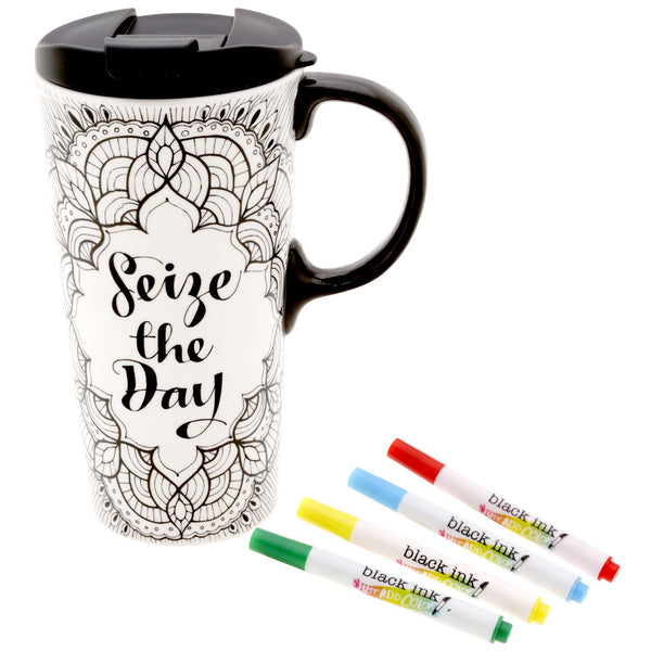 Seize The Day Coloring Ceramic Travel Mug