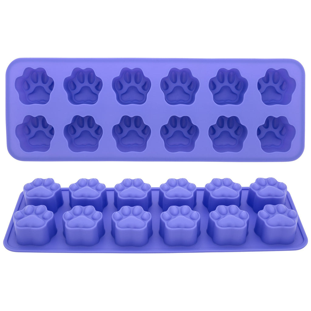 Silicone Paw Print Ice Cube Trays - Set Of 2