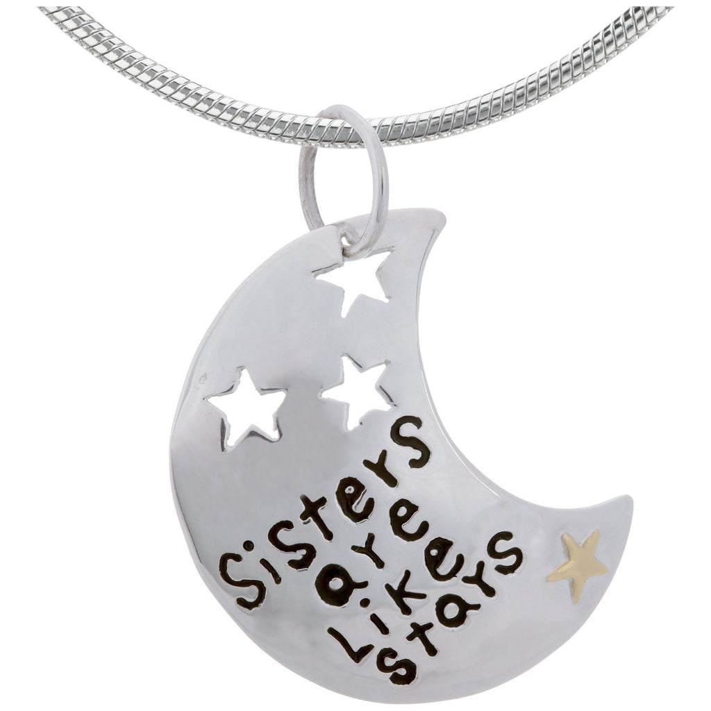Sisters Are Like Stars Sterling & Brass Necklace
