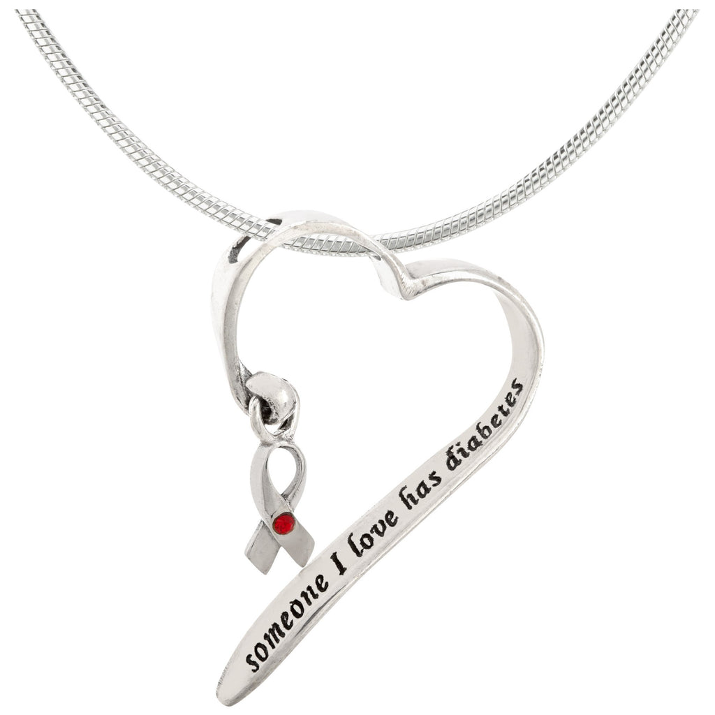 Someone I Love Has Diabetes Sterling Heart Necklace