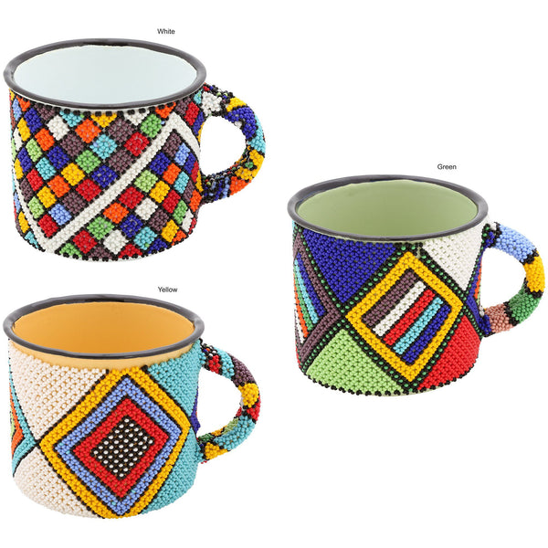 South African Beaded Enamelware Mug
