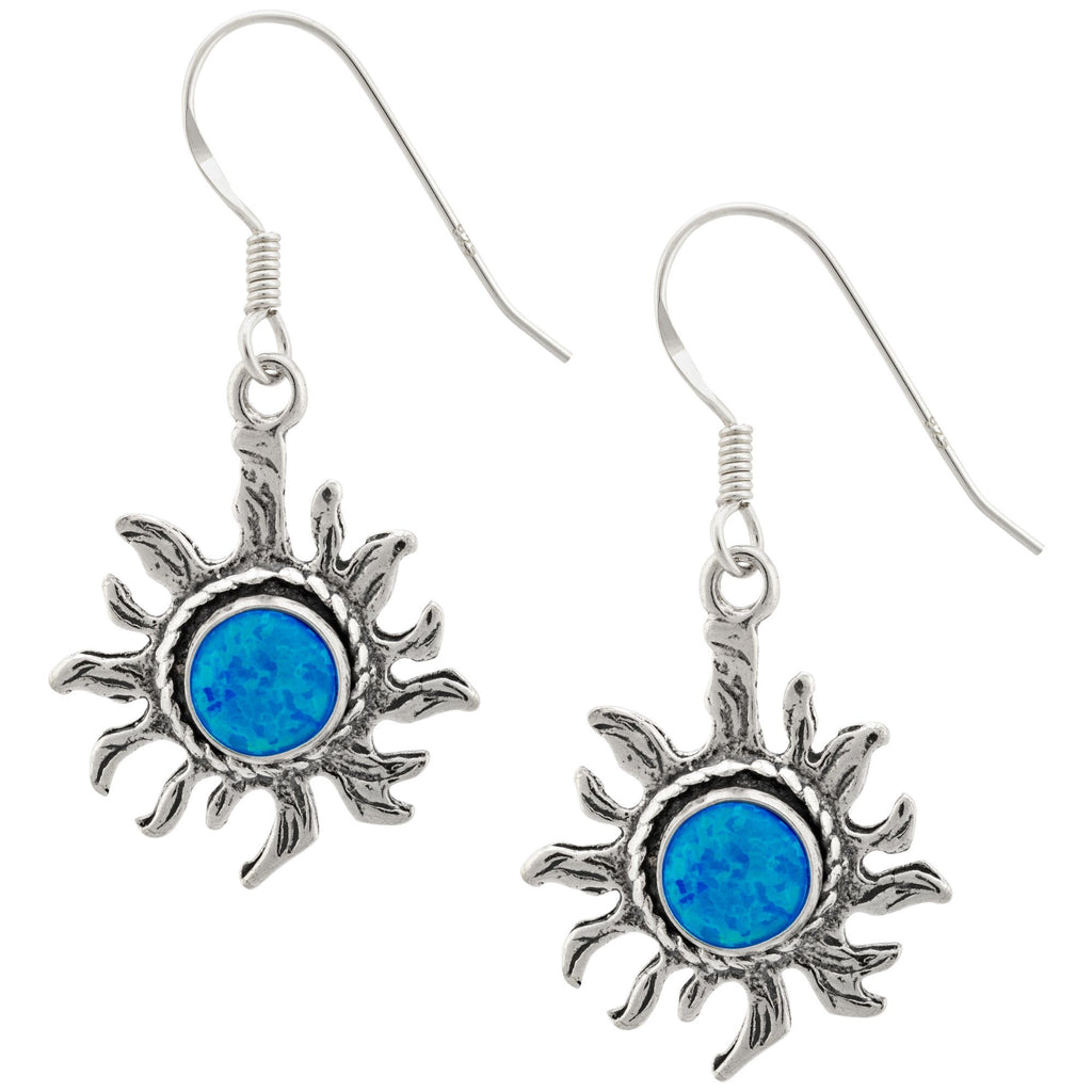 Sterling & Blue Opal Sun Earrings