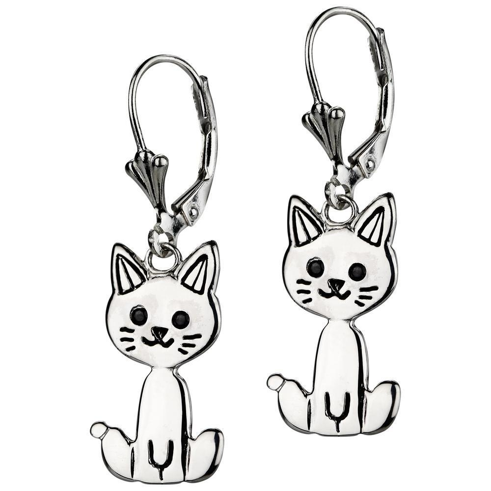 Sterling Kitty Cat Earrings