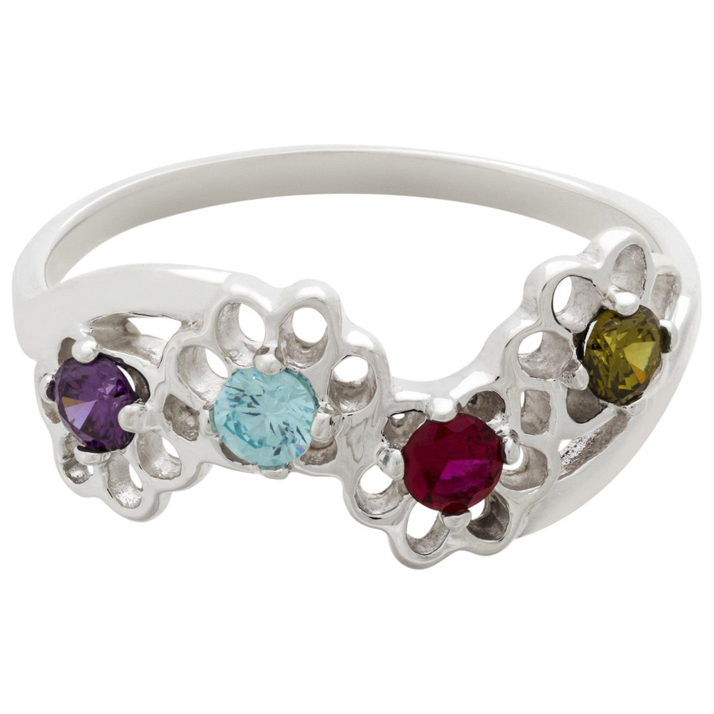 Sterling Rainbow Paw Prints Ring