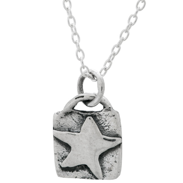 Sterling Silver Star Squared Necklace