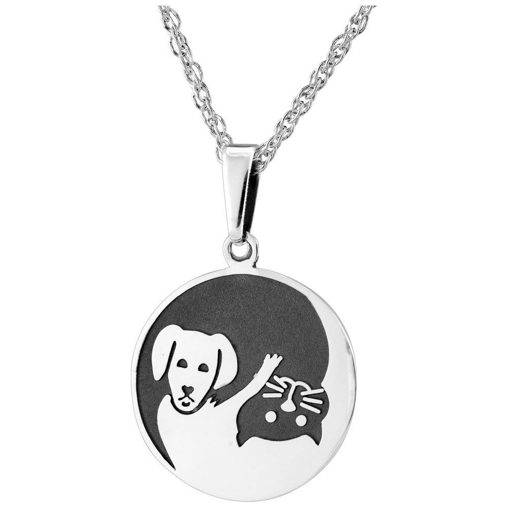 Sterling Yin Yang Cat & Dog Necklace