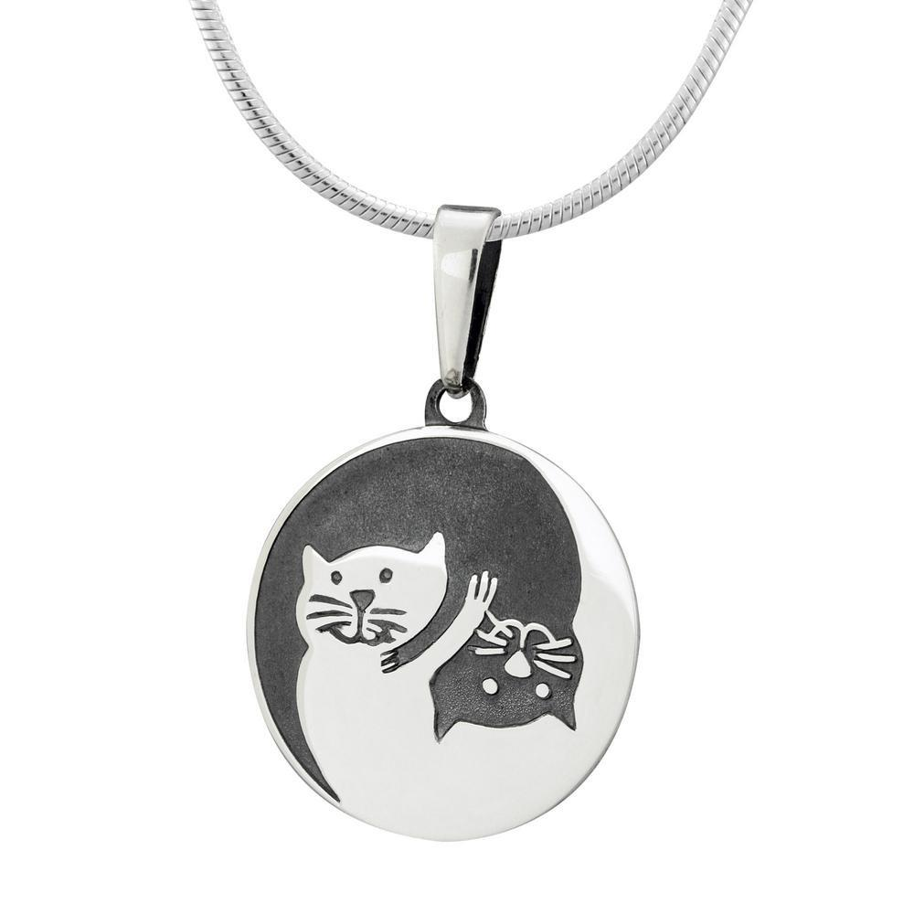 Sterling Yin Yang Cat Necklace