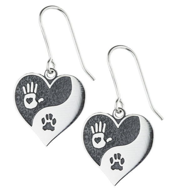 Sterling Yin Yang Paw Print Earrings