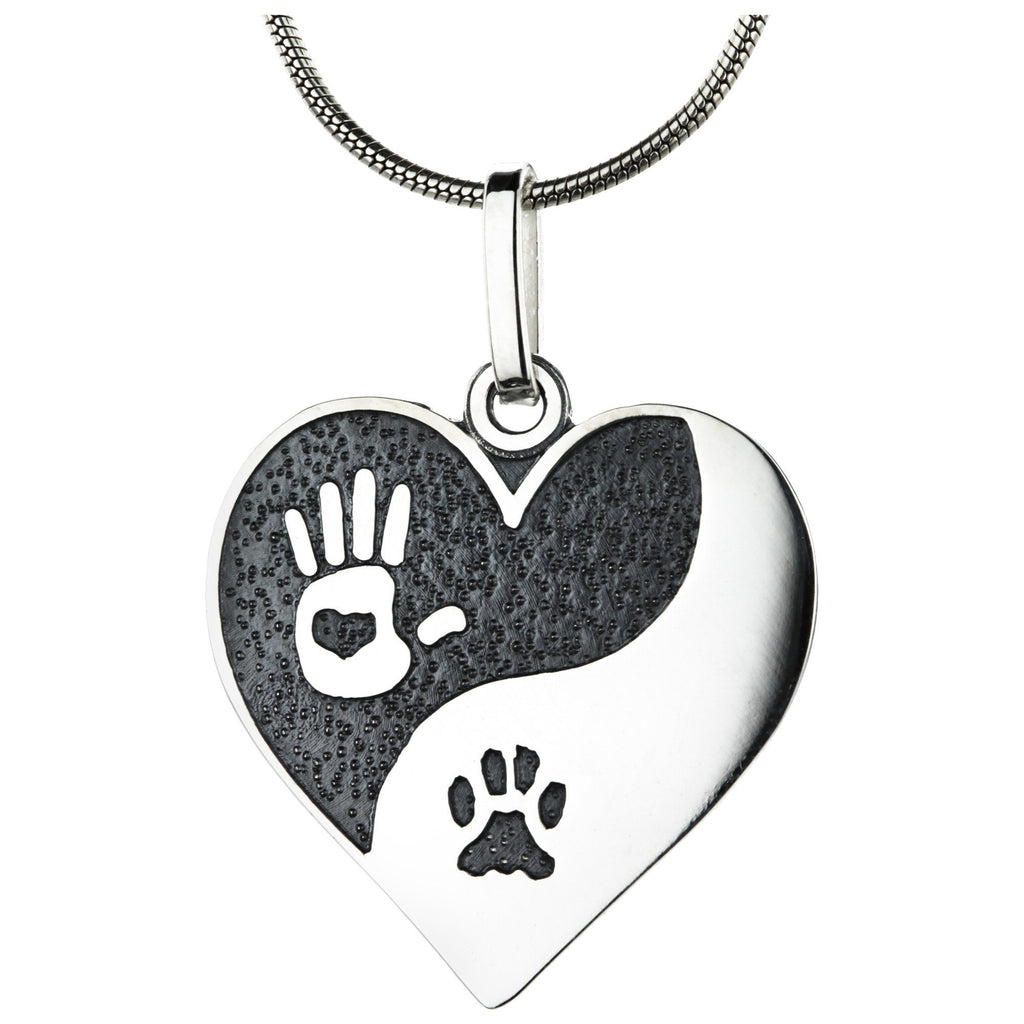 Sterling Yin Yang Paw Print Necklace