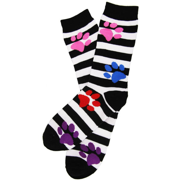 Striped Paw Prints Socks