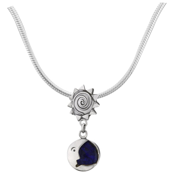 Sun & Moon Sodalite & Sterling Necklace