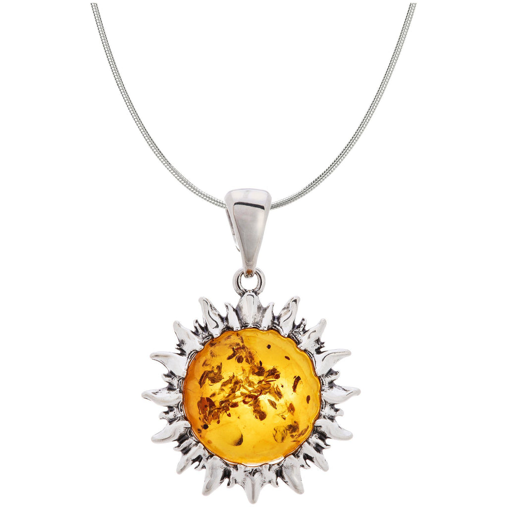 Sunshine Of Amber Sterling Necklace