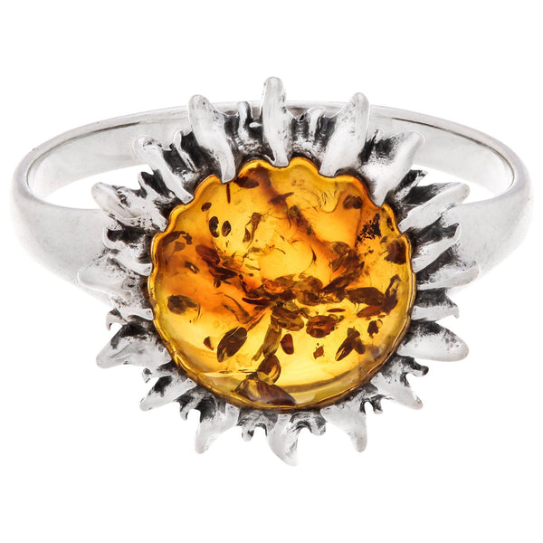 Sunshine Of Amber Sterling Ring