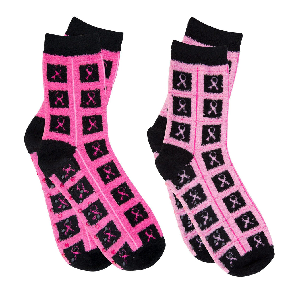Super Cozy™ Pink Ribbon Slipper Socks - Set Of 2