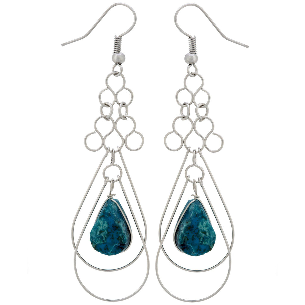 Teardrop Loops Stone Earrings