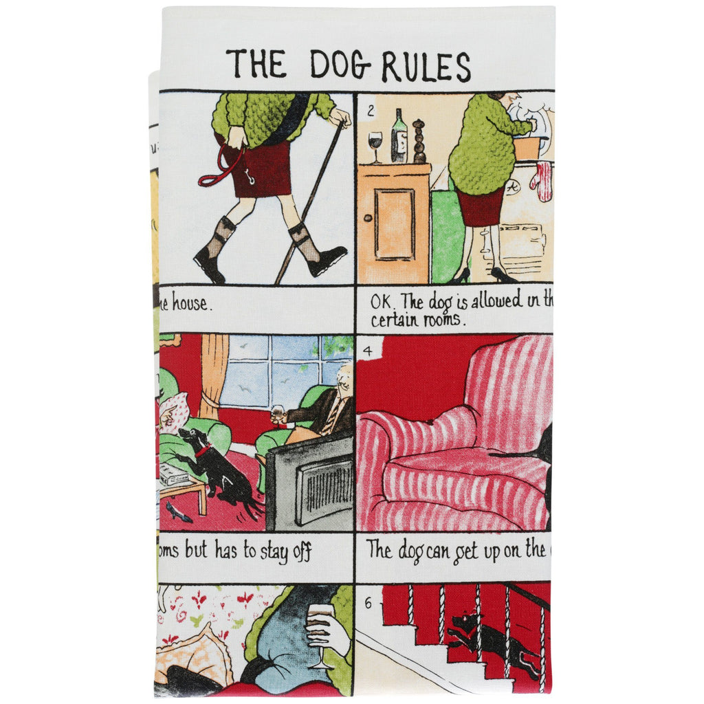The Dog Rules Linen Tea Towel