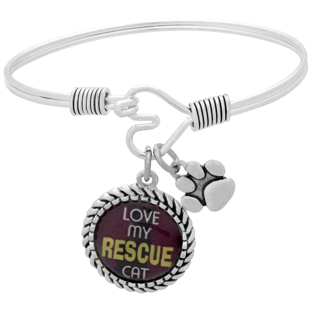 The Love Of A Rescue Pewter Bangle Bracelet