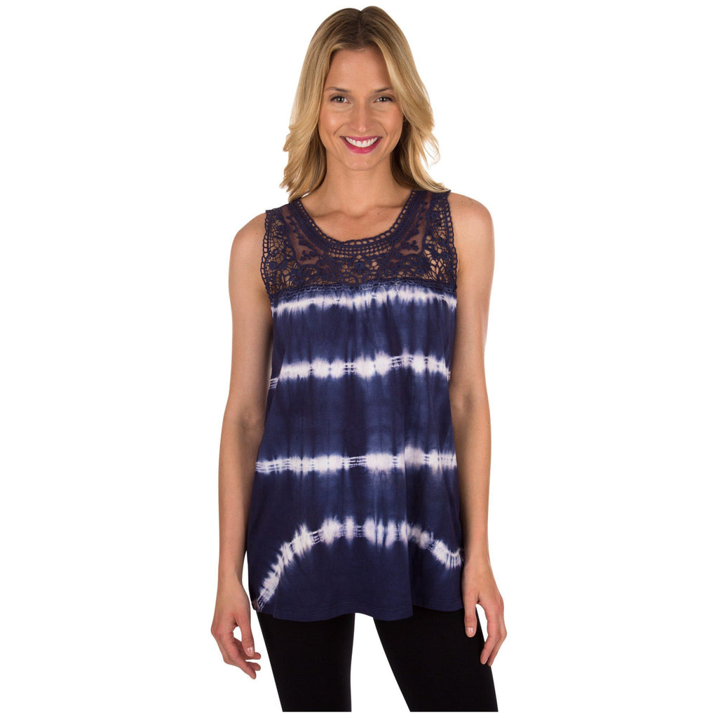 Tie-Dye & Lace Sleeveless Tunic