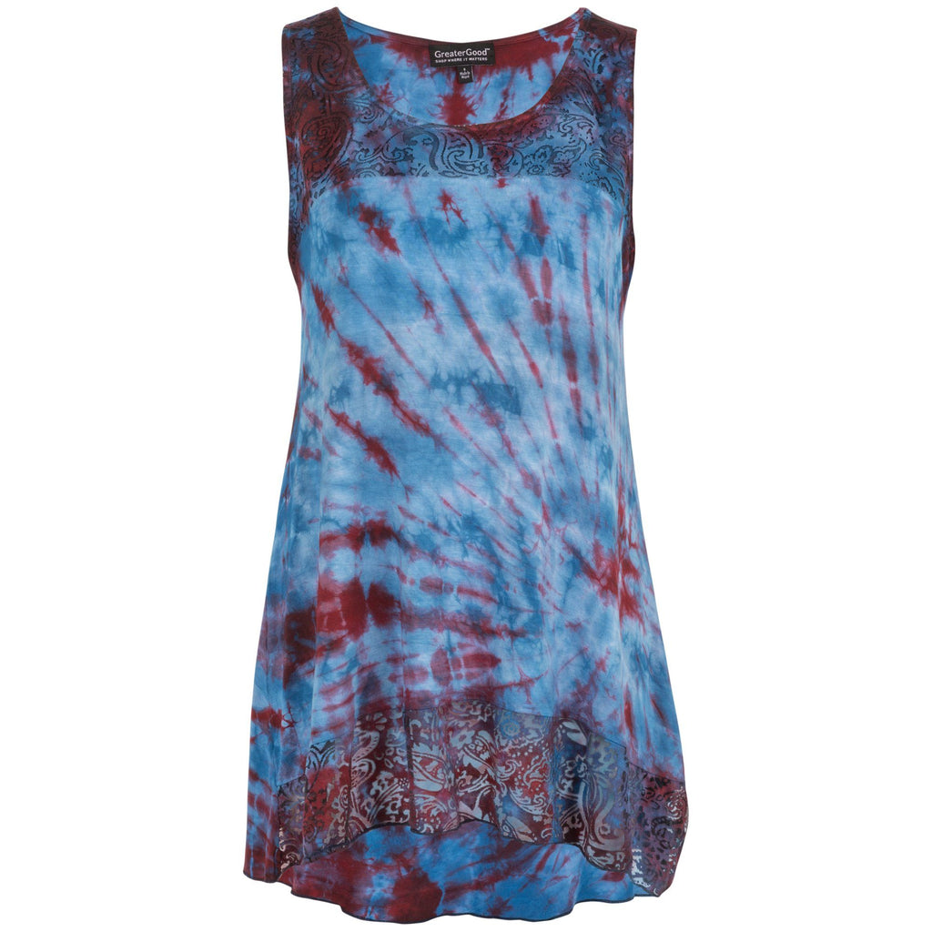 Tie Dye Lace Sleeveless Tunic