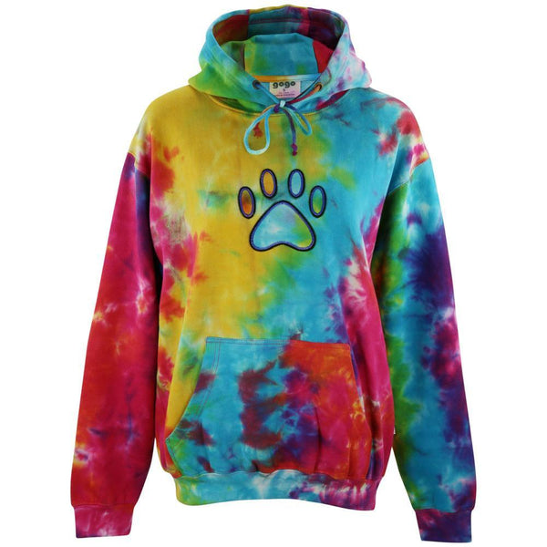 Tie Dye Paw Applique Hooded Sweatshirt