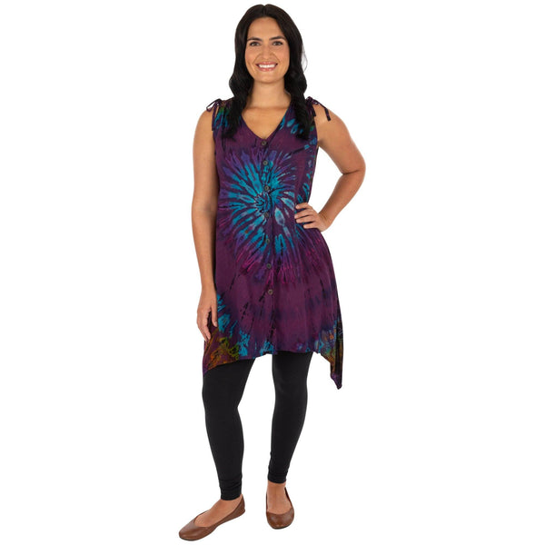 Tie Dye Swirl Tunic Dress