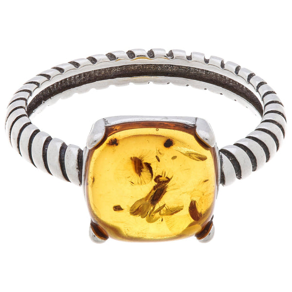 Timeless Amber & Sterling Ring
