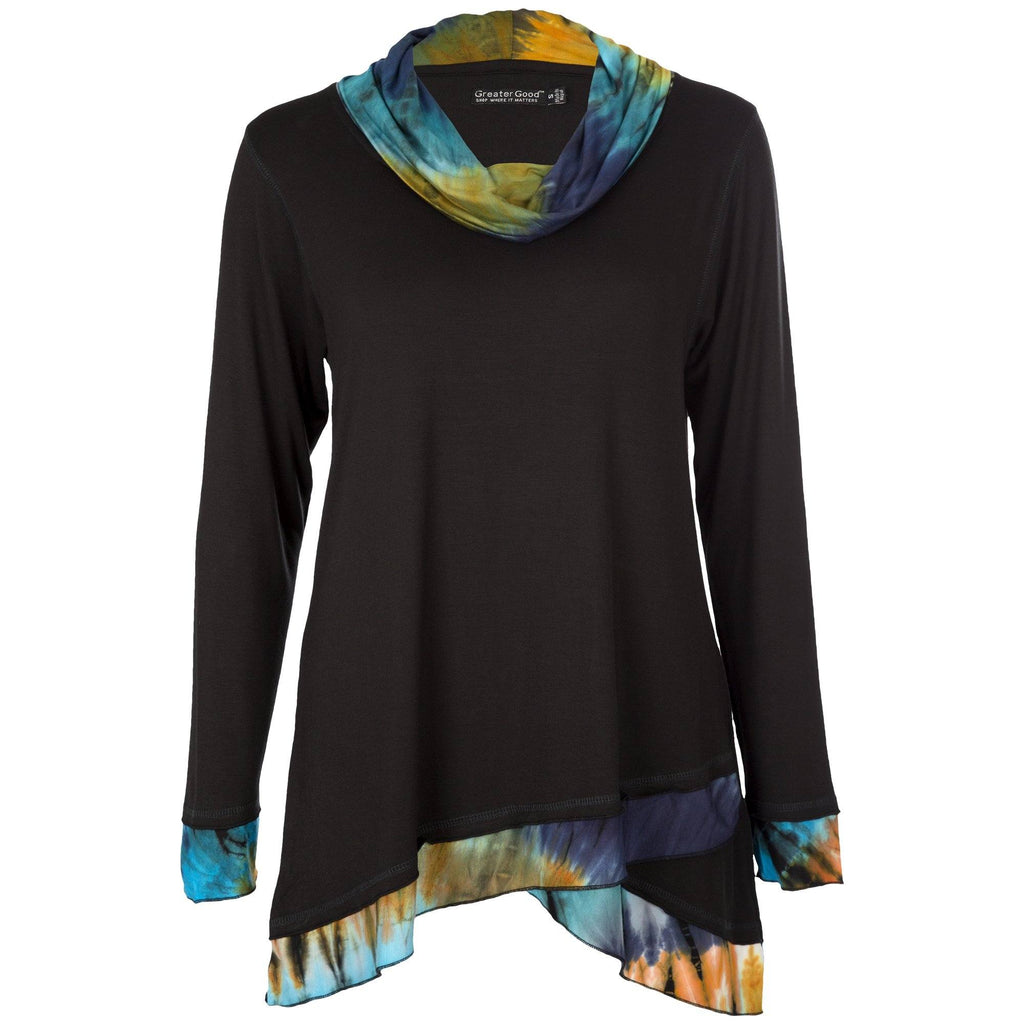 Touch Of Tie Dye Draped Neck Tunic