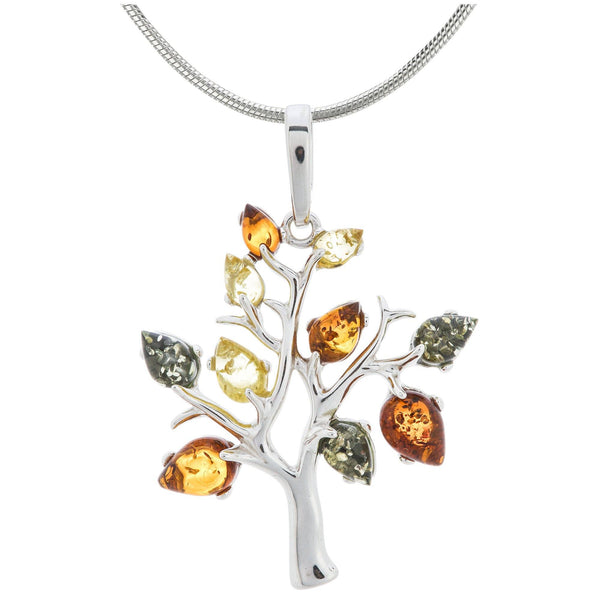 Tree Of Life Amber & Sterling Necklace