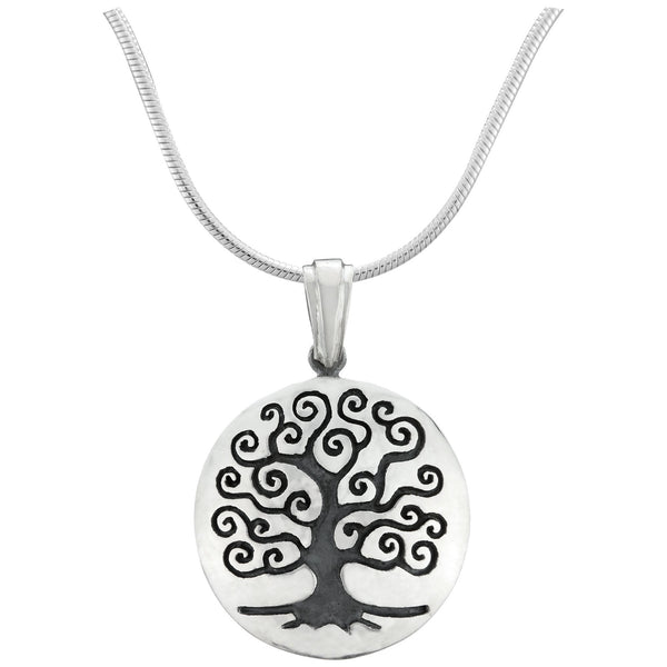 Tree Of Life Curved Sterling Necklace