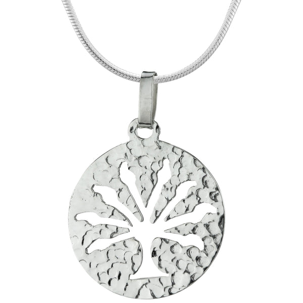 Tree Of Life Hammered Sterling Necklace