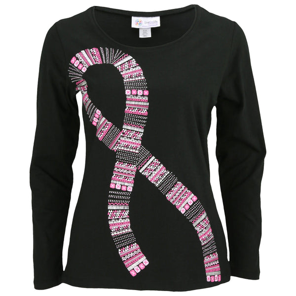 Tribal Pink Ribbon Long Sleeve Tee