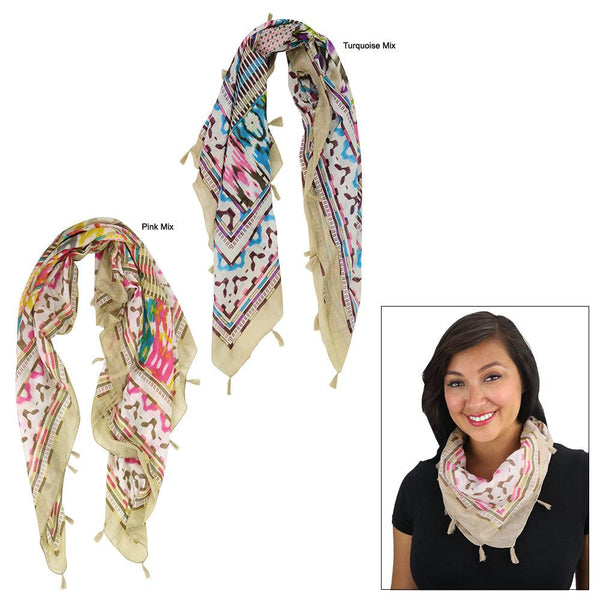 Tribal Print Soft-Tones Scarf