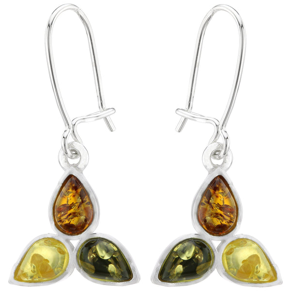 Trinity Amber & Sterling Earrings