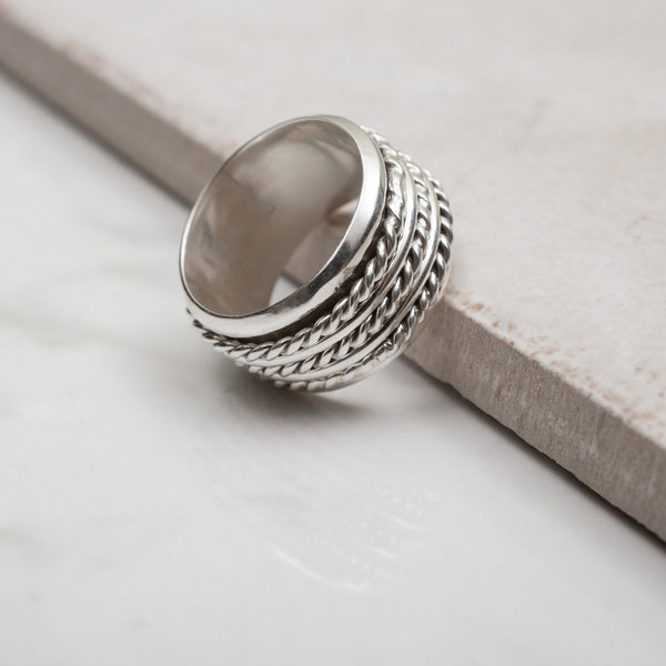 Triple Rope Sterling Spinning Ring