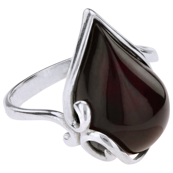 Twist Of Cherry Amber & Sterling Ring
