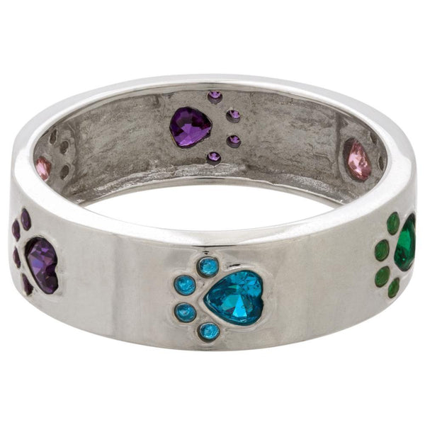 Walking Rainbow Paw Prints Sterling Ring