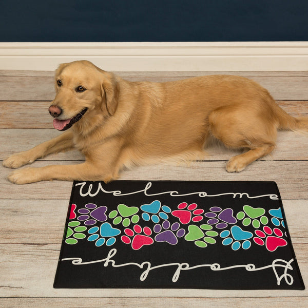 Welcome & Goodbye Paw Print Indoor/Outdoor Mat