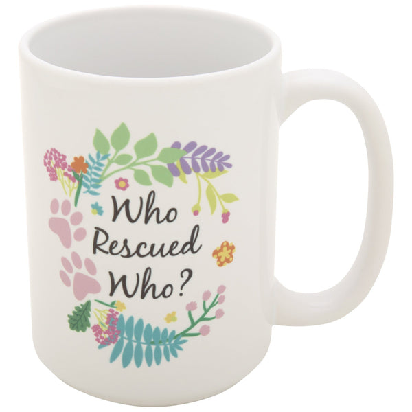 Who Rescued Who Paw & Pink Ribbon Mug
