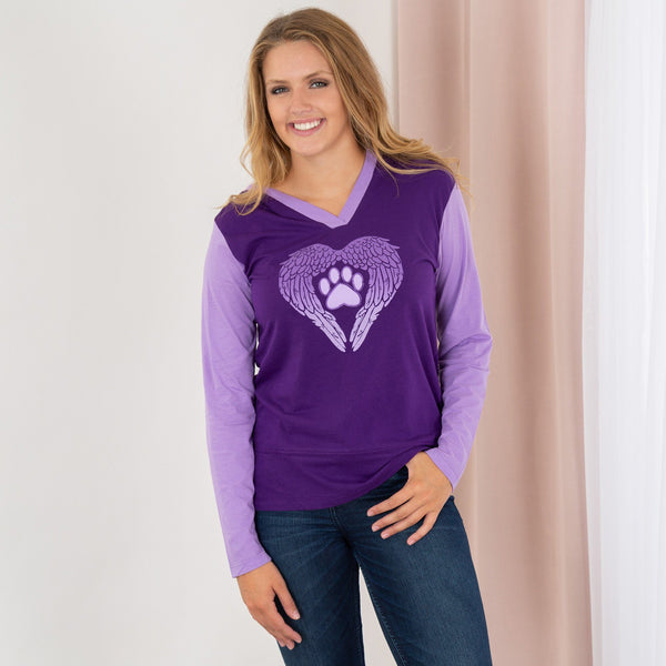 Wings Of An Angel Purple Paw Contrast Hoodie