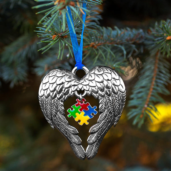 Wings of an Angel Puzzle Piece Ornament - The Autism Site