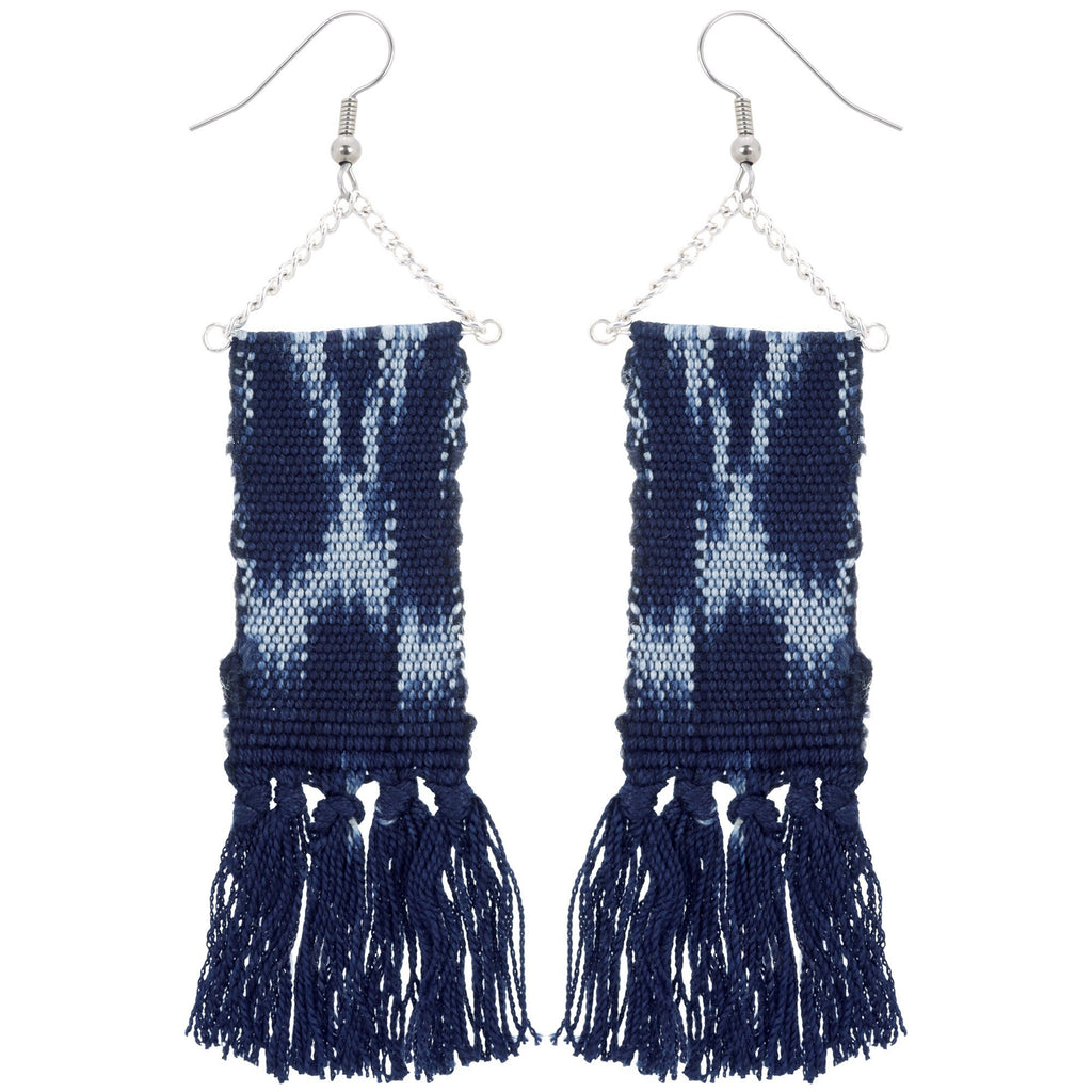 Woven Ikat Fringe Earrings
