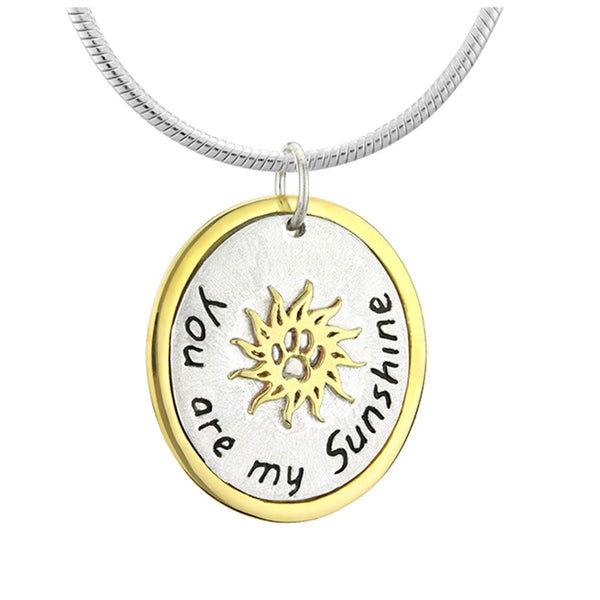 You Are My Sunshine Paw Print Sterling Necklace