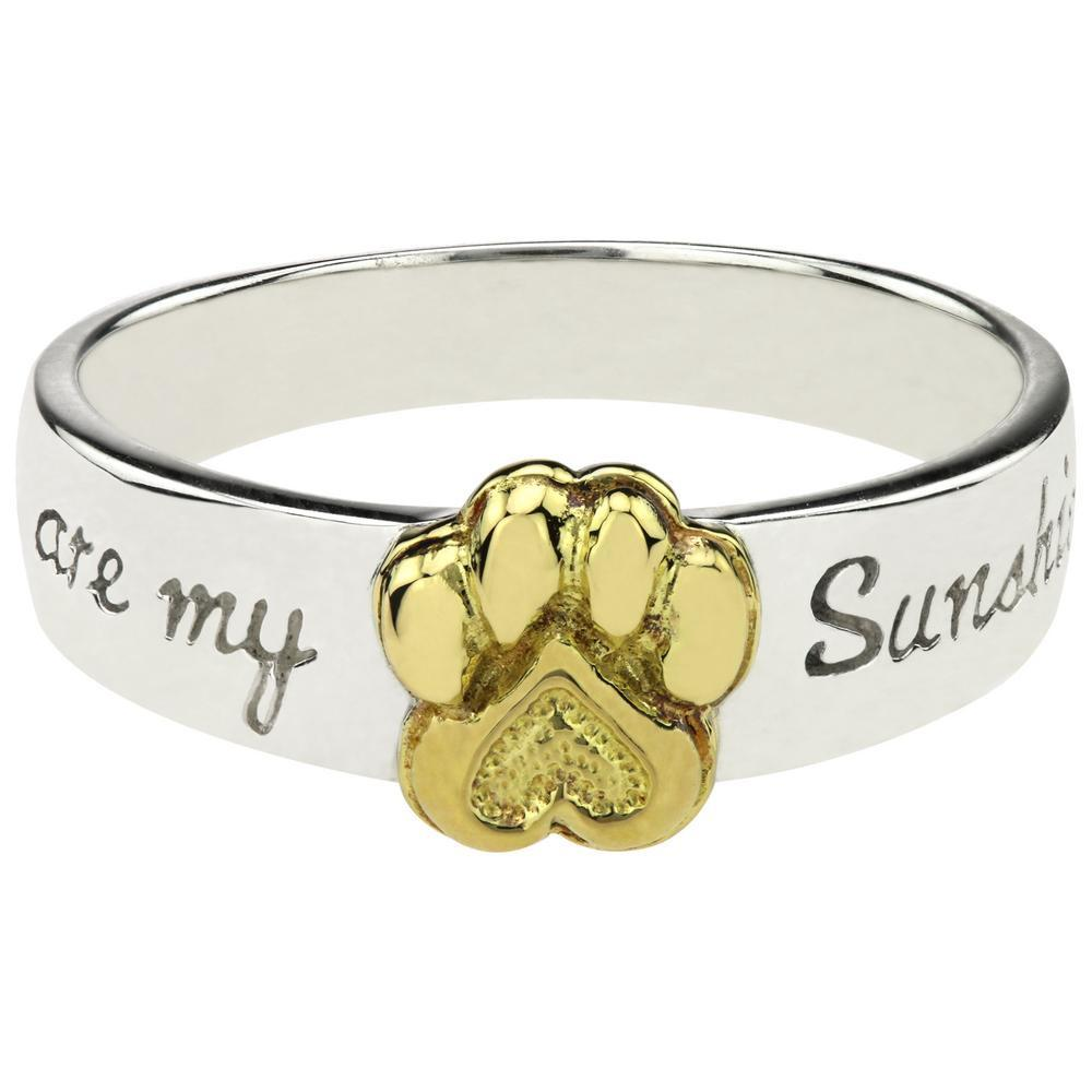 You Are My Sunshine Paw Print Sterling Ring