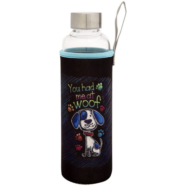 You Had Me At Woof Glass Water Bottle