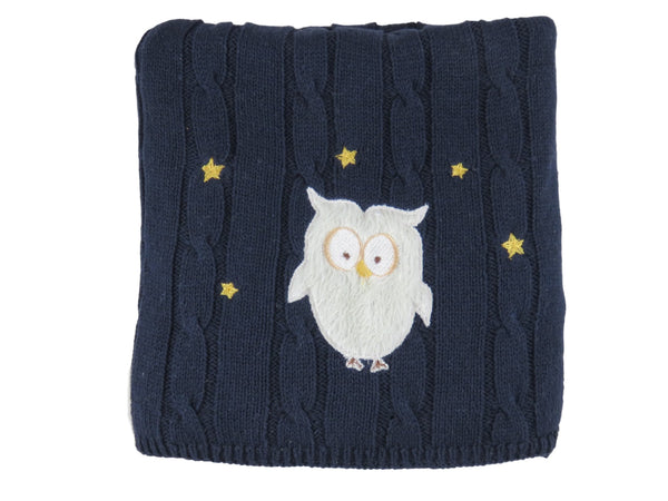 """snuggle-me"" Owl - Cable Knit Baby Blanket"