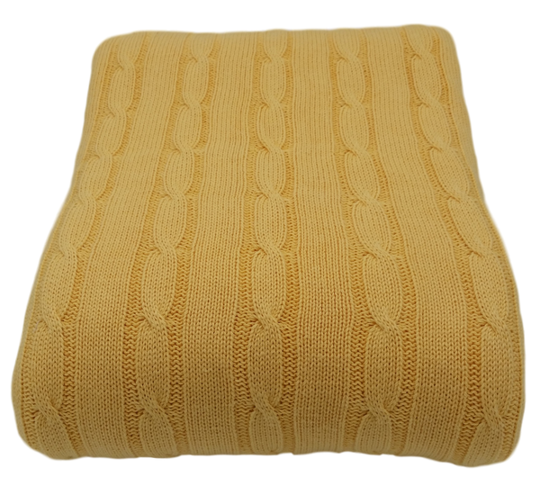 Cable Cotton Knit Throw  (Double / Queen 150x200cm) - 8 colours available.