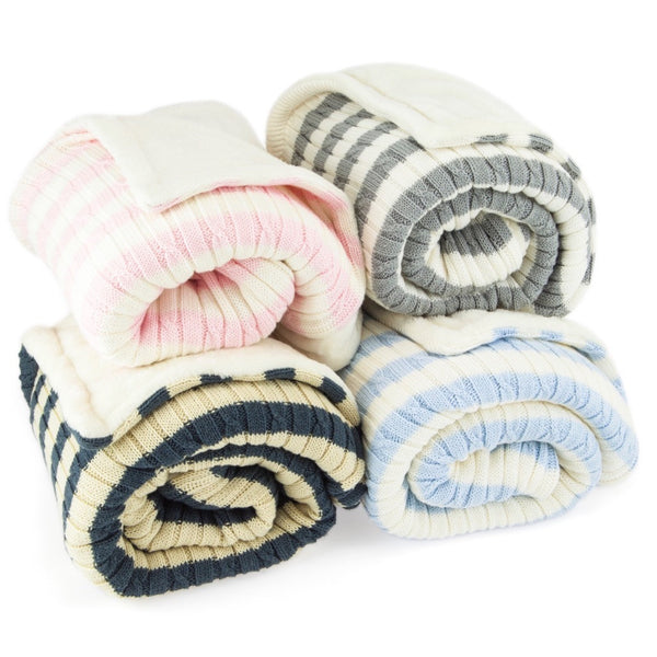 Cable Design Fleece Lined Baby / Toddler Blanket