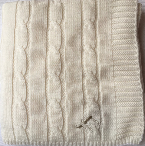 Chai embellished cable knit baby blanket
